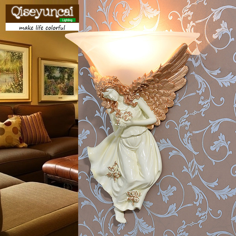Qiseyuncai European resin wall lamp living room wall Angel wall lamp bedroom bedside creative simple aisle staircase LED lamps european style bronze white shade wall lamp simple creative living room bedroom led bedside lamp jane european retro wall lamp