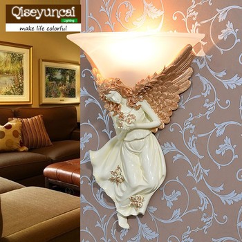 Qiseyuncai European resin wall lamp living room wall Angel wall lamp bedroom bedside creative simple aisle staircase LED lamps