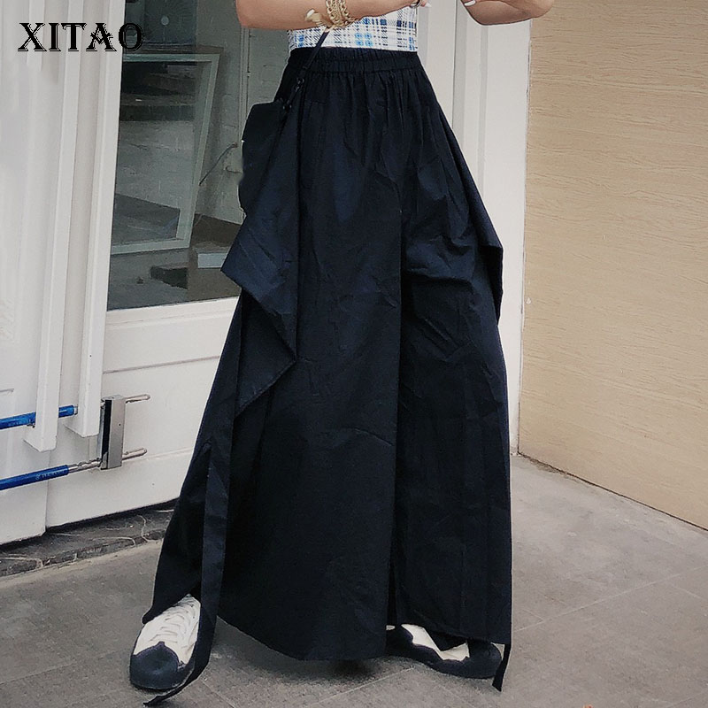 [XITAO] Women Korea Fashion New 2019 Summer Pocket   Wide     Leg     Pants   Female Solid Color Elastic Waist Full Length   Pants   ZQ1936