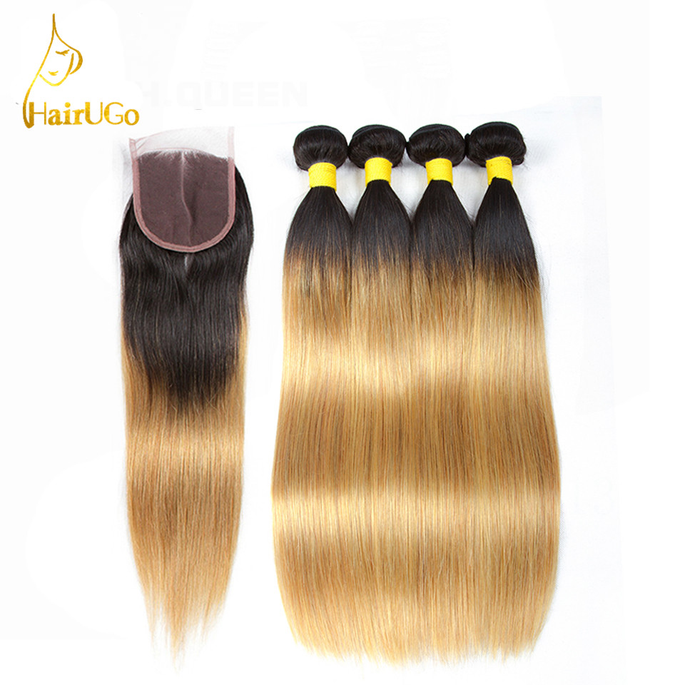HairUGo Hair Pre -colored Brazilian 4 Bundles With Closure Human Hair #T1b/27 Color Non Remy Straight Bundles With Closure Hair