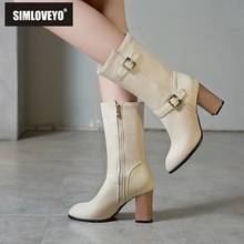 SIMLOVEYO Shoes women Mid calf boots Pointed toe Chunky heel Flock Zipper Buckle strap Beige ladies Booties Large size B1452 все цены