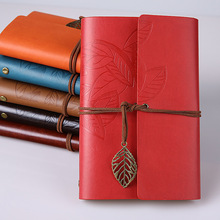 Vintage fine leather spiral literary notebook travel diary notebook student business gift painting book