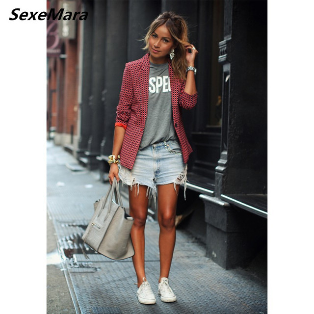Women Casual Plaid Red Autumn Fashion Small Suit Single Button Cotton Polyester Natural Waist Lapel Office Commuter Women