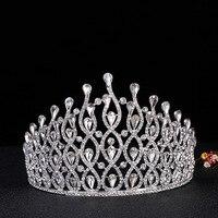 Châu âu và rhinestone trang sức nhà máy trực tiếp đảng bride wedding tiara headbands vô địch biểu diễn vương miện Lớn