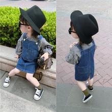 JENYA free shipping new casual spring&autumn girls plaid clothes baby lantern sleeve t-shirt+denim strap dress 2pcs sets 4046