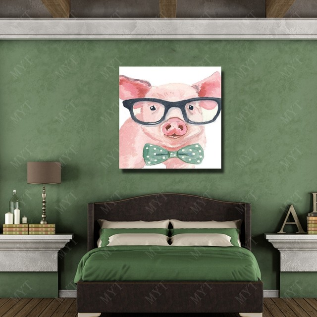 Lovely Pig Painting Modern Living Room Decor Fine Art Pictures No Framed  And With Framed Painting High Quality Artwork