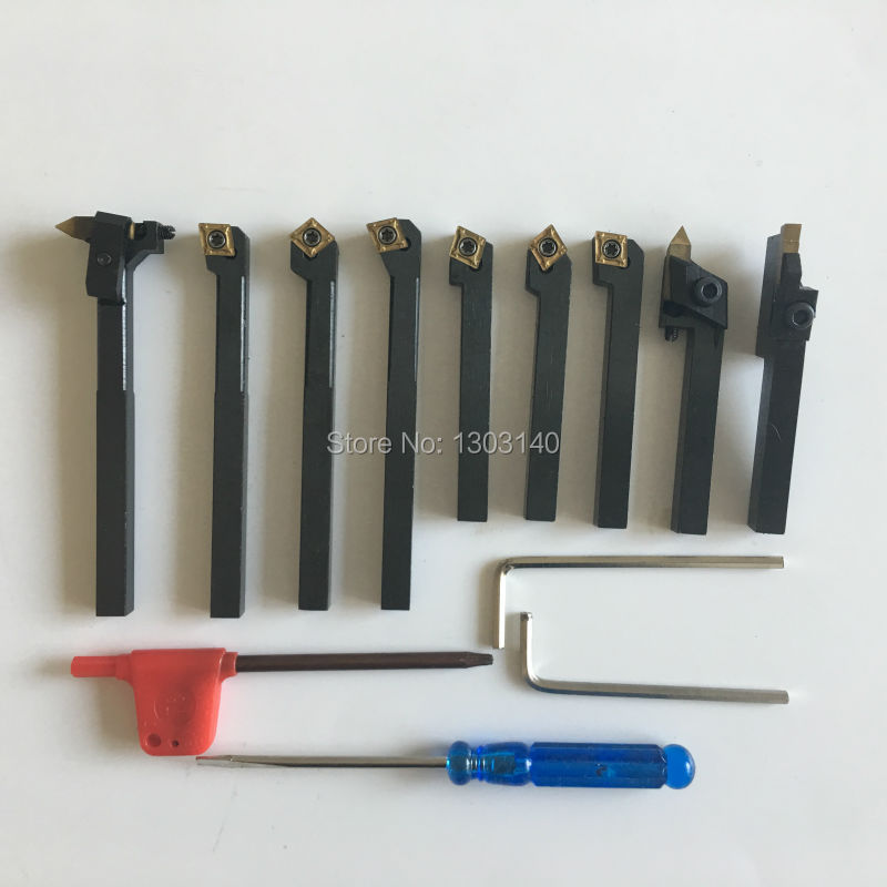 Manual Turning Tool Set 9pcs/set 8mm best price mgehr1212 2 slot cutter external grooving tool holder turning tool no insert hot sale brand new