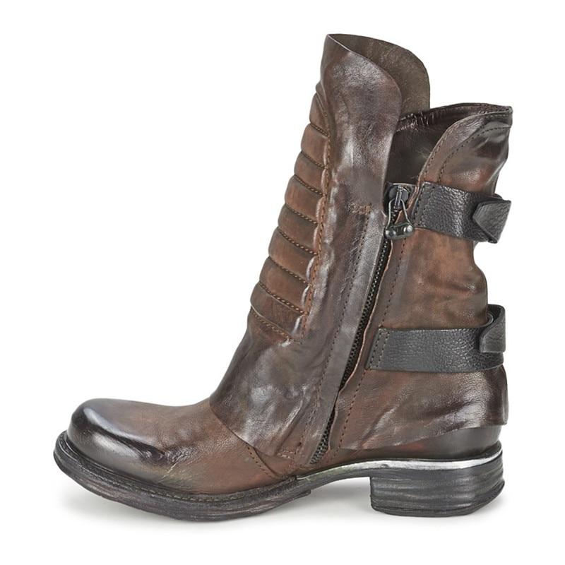 Stiefeletten Schuhe 02 Wohnungen Mujer Casual color Mabaiwan Mode Leder Straps Schwarz Botas Design Frauen Zapatos Echtes Color 01 qRgnYUT