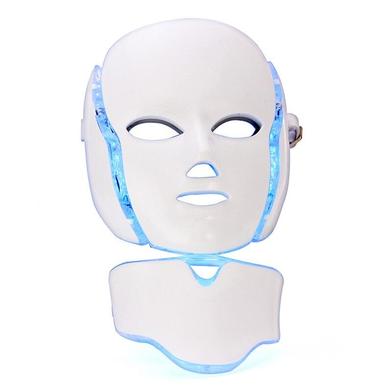 LED Visage Cou Masque 7 Couleur SME Micro-courant Enlever Rides Acné Rajeunissement de La Peau Soins Du Visage Traitement Spa Beauté machine