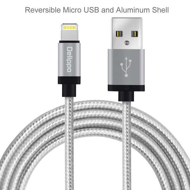 new styles f126f fb9fa Delippo For iPhone Charger Cable MFI Lighting to USB Cable Syncing and  Charging for iPhone 6S 6 Plus SE 5S 3.3ft/1m Silver-in Laptop Adapter from  ...