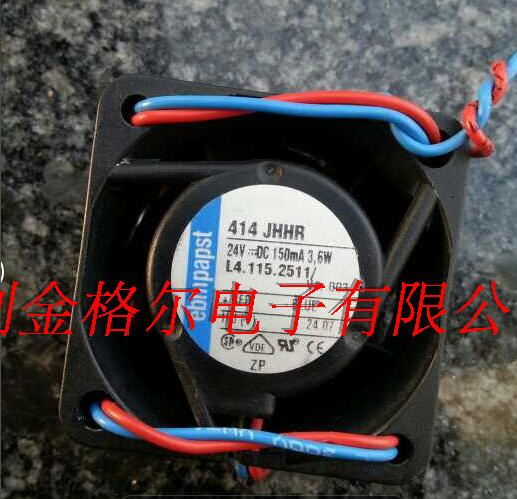 Free Shipping For ebm-papst 414 JHHR DC 24V 3.6W 2-wire 40x40x25mm Server Square fan free shipping for ebm papst typ 3412n 37gmv dc 12v 167ma 2w 4 wire 4 pin connector 110mm 90x90x25mm server square cooling fan