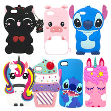 Phone Case For iphone 5 Cartoon 3D Silicone 5S Cat Black Pink Cool Rabbit Bunny Unicorn Stitch Cover iphone5