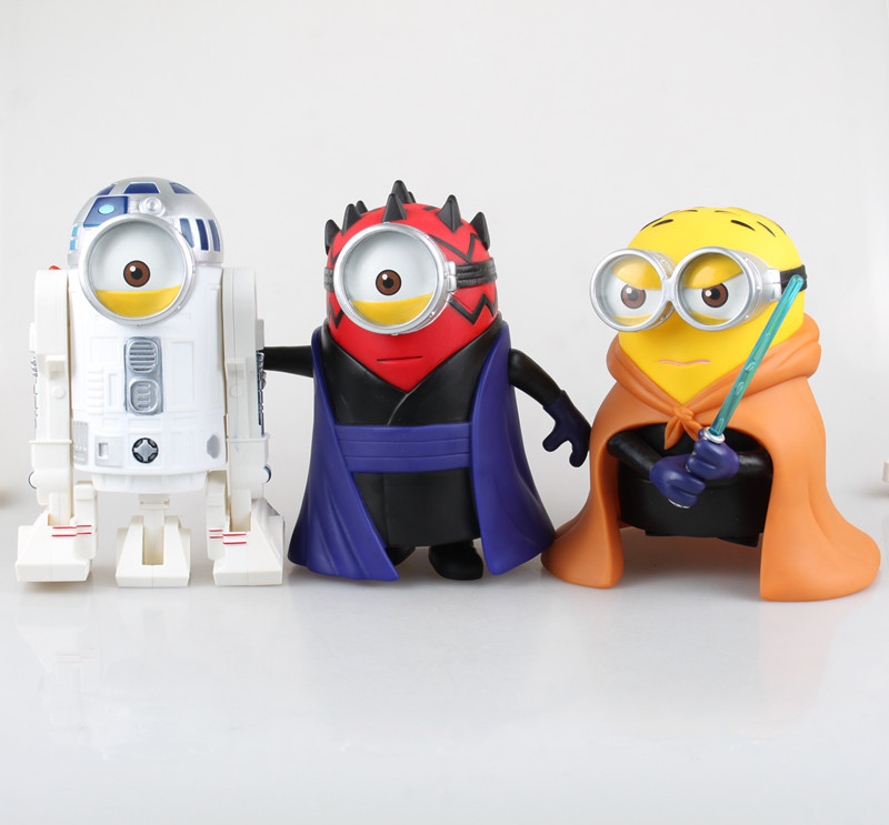 Anime Despicable Me Cos <font><b>Star</b></font> <font><b>Wars</b></font> <font><b>Obi-Wan</b></font> <font><b>Kenobi</b></font> Darth Maul R2-D2 PVC <font><b>Action</b></font> <font><b>Figure</b></font> Collectible Model Toy 19-21cm KT1802