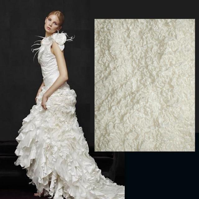 blanco natural de seda arrugado vestido de novia telas seersucker en