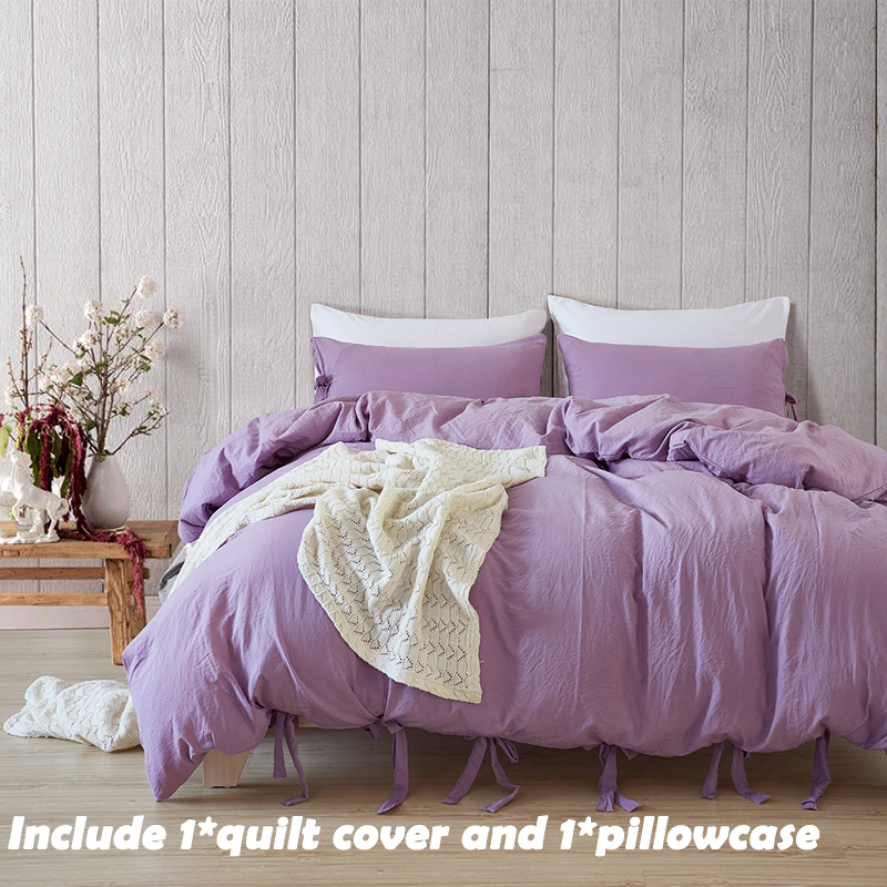 EHOMEBUY Bedding Sets US Size Cotton Bandage Simple Style 1 Quilt Cover And 1 Pillowcase Purple Solid Color Home Comfortable
