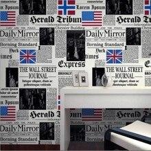 Beibehang обои Простой личности Американская газета Английские буквы обои бар кафе ресторан обои для стен 3 D