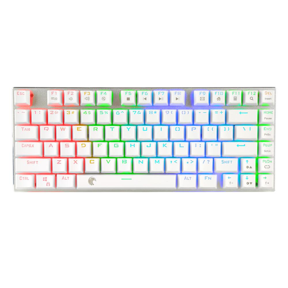 Z-88 <font><b>TKL</b></font> <font><b>Mechanical</b></font> <font><b>Keyboard</b></font> RGB LED Backlit Blue Switches Small Compact Aluminum Gaming <font><b>Keyboard</b></font> with Detachable Cable, White image