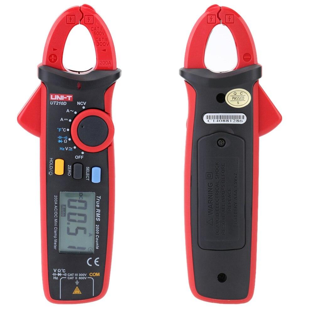 UNI-T UT210D Digital AC/DC тока Напряжение Сопротивление Емкость клещи мультиметр Температура измерения Авто Диапазон