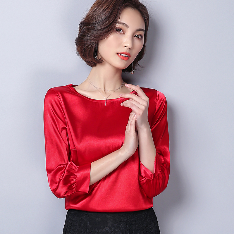 Women Blouses Casual OL Silk Blouse Autumn Loose Basic Satin Shirt Work Wear Blusas Feminina Tops Shirts Plus Size XXXL Pink/Red 3