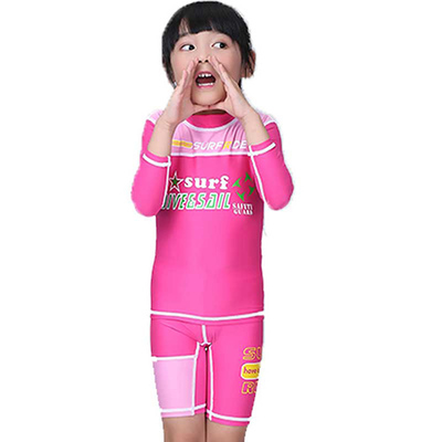 df331e15a5 DiveSail girls boys swimming suits Long Sleeve shorts Floral Diving Suit  with front zipper Children Surfing rashguard for kids-in Body Suits from  Sports ...