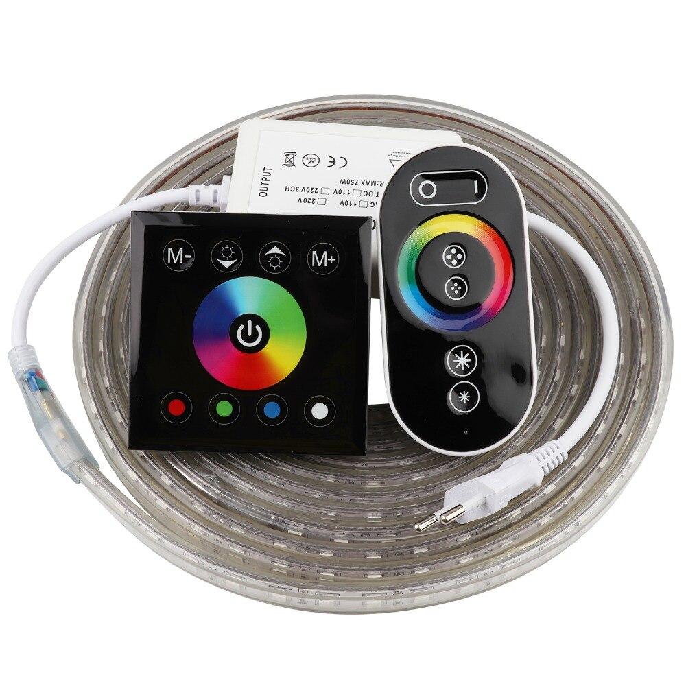 2 손가락 터치 원격 제어 RGB LED 스트립 220 V 220 V 방수 LED 스트립 빛 60 leds/m 5050 리본 ledstrip 스트라이프 테이프 일리노이