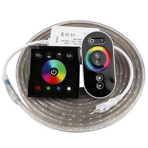 Image 1 - 2 Finger touch fernbedienung RGB LED Streifen 220 V 220 V wasserdicht LED Streifen Licht 60 leds/m 5050 band ledstrip streifen band IL