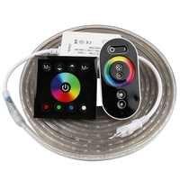 2 doigt tactile télécommande RGB LED bande 220 V 220 V LED étanche bande lumière 60 LED s/m 5050 ruban LED bande bande bande IL