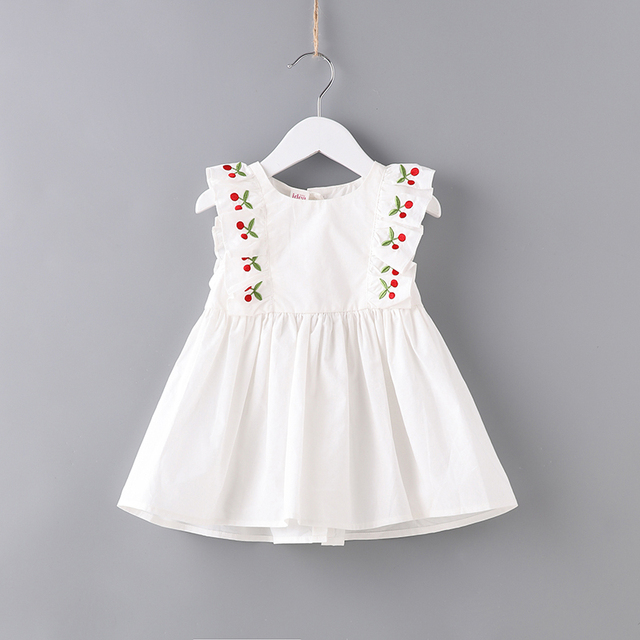 59f83e3f711a9 Dresses for Girls Clothing Casual Children Clothes Cherry Embroidery Solid  Color Toddler Girls Dress for Kids Usual Dress up