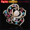 Opal Suit  Flower Colorful Hollow Brooch Heart Shawl Buckle Rhinestone Lapel Pin Brooches for Women Lapel Pin 3pcs Wholesale