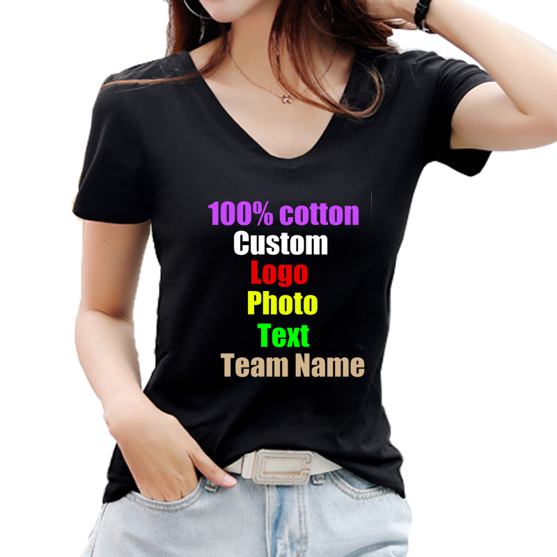 Solid Cotton Heart V neck Women T-shirt Customized Custom Logo Text Photo  Printed Female T shirt Tops personalized Lady DIY Tees