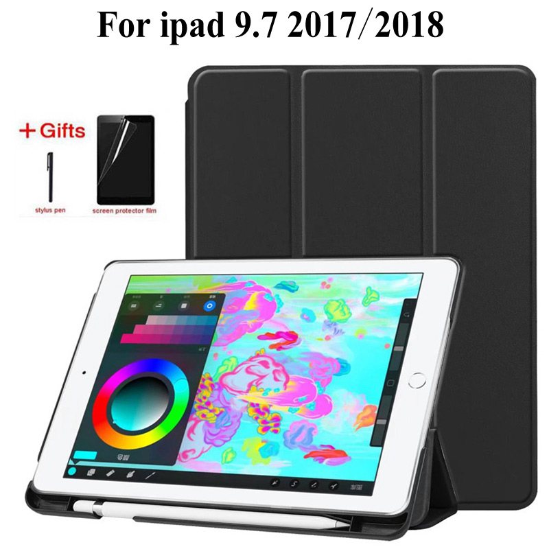 Slim Stand Flip Leather Case For IPad 9.7 Inch 2017 2018 With Pencil Holder Cover For IPad Air 1 2 9.7 Inch Tablet Case+film+pen