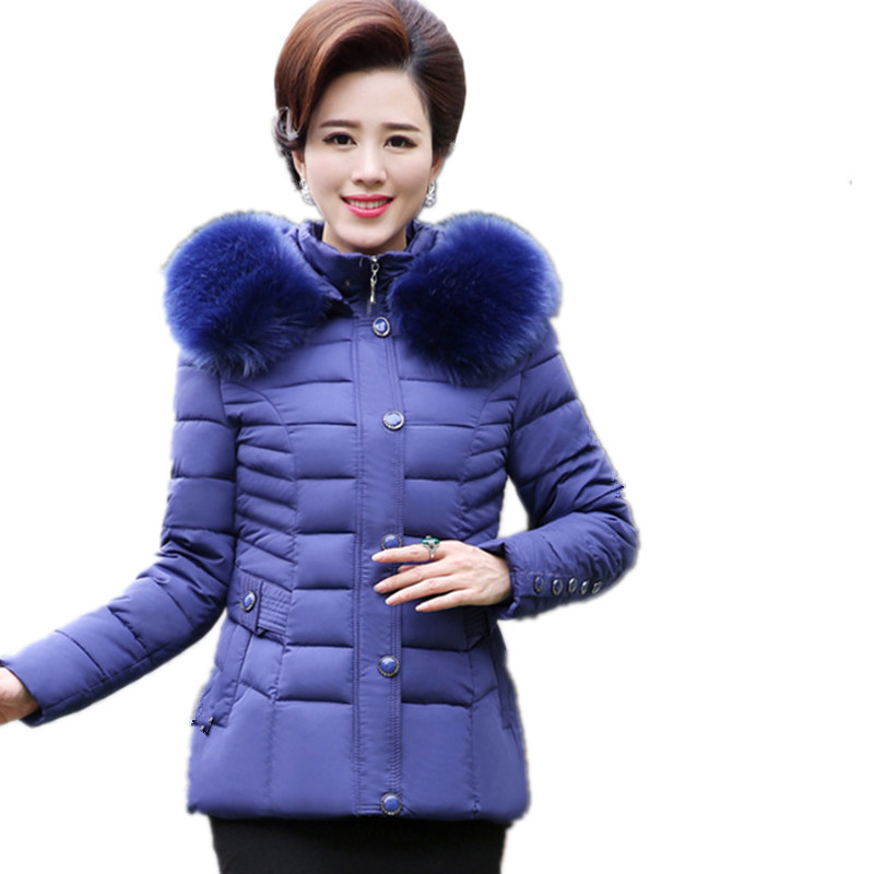 Winter Short Plus Size Thick Middle-aged Fur Collar Cotton Padded Coat Parka Female High Quality Hooded Winter Jacket TT3161 winter thicker large fur collar hooded cotton jacket women warmer padded parka high quality wadded ukraine coat chaqueta mujer