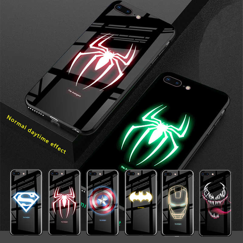 Luxury Shockproof Luminous Tempered Glass Case for iPhone 8 7 6 6s Plus XS MAX XR 10 Marvel Batman Venom Cover Spider Man coque