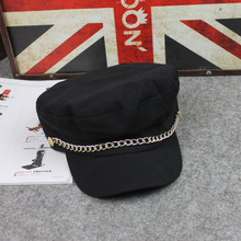 Korean Military Cap 2018 Autumn Winter Cotton Wollen Chain Lace Ladies Military Hats Army Women Hat Street Outdoor Sport Casual fashion ladies fall winter m standard casual cap thick tweed curved along the hat street to shoot hats wholesale sport hat