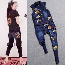 Belt! High quality women appliques embroidery denim vest rock geek jeans pants denim clothing set overalls pants suits NZ01