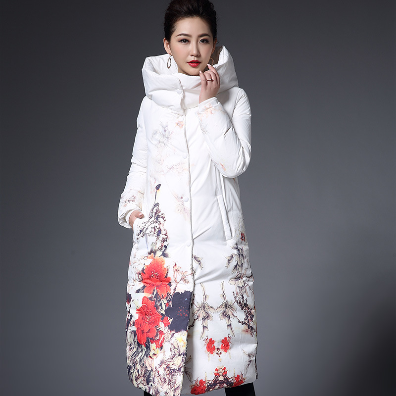 Plus size 4XL 2017 winter Jacket women Down Jackets Flower print thicken white duck down Coat medium long down coats outerwear