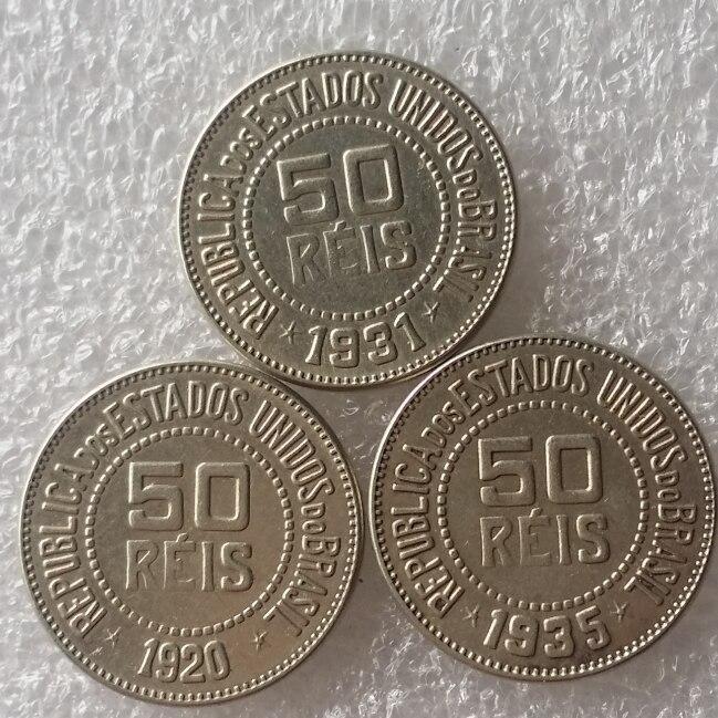 Хорошее качество Бразилии 50 Reis набор (1920 1931 1935) 3 шт. Медь и никелевого сплава монеты скопировать