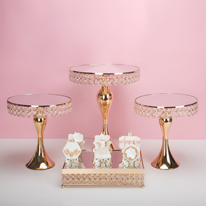 Image 4 - New arrive Gold Crystal cake stand set Electroplating gold mirror face fondant cupcake sweet table candy bar table decorating