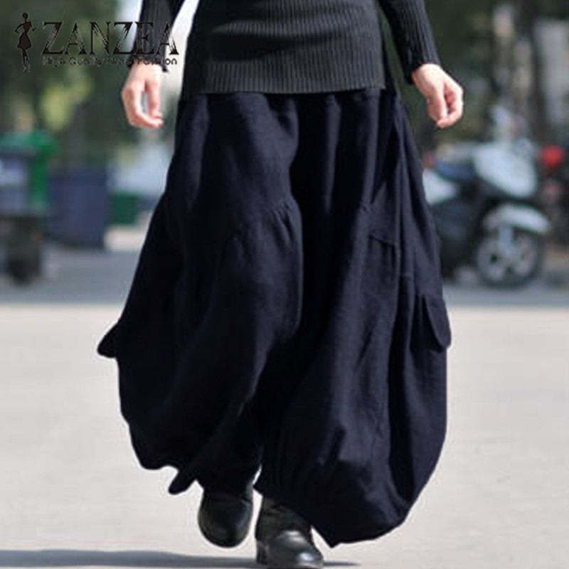 ZANZEA 2019 Autumn Women Fashion Harem Pants Loose Solid Cotton Linen Elastic Cross-Pants Elegant Basic Long Trousers Plus Size