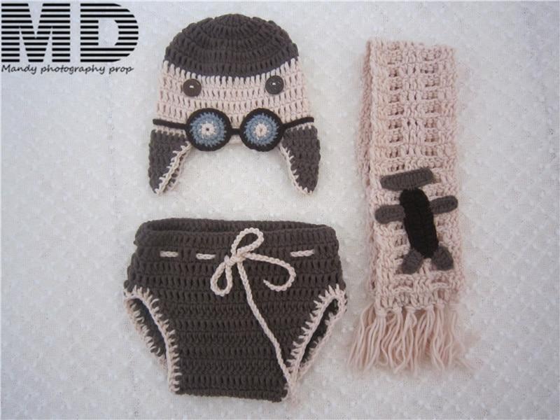 Baby pilot astronauts clothes set, aviator hat,Handmade crochet pilot aviator Hat Romper Scarf,newborn photography props
