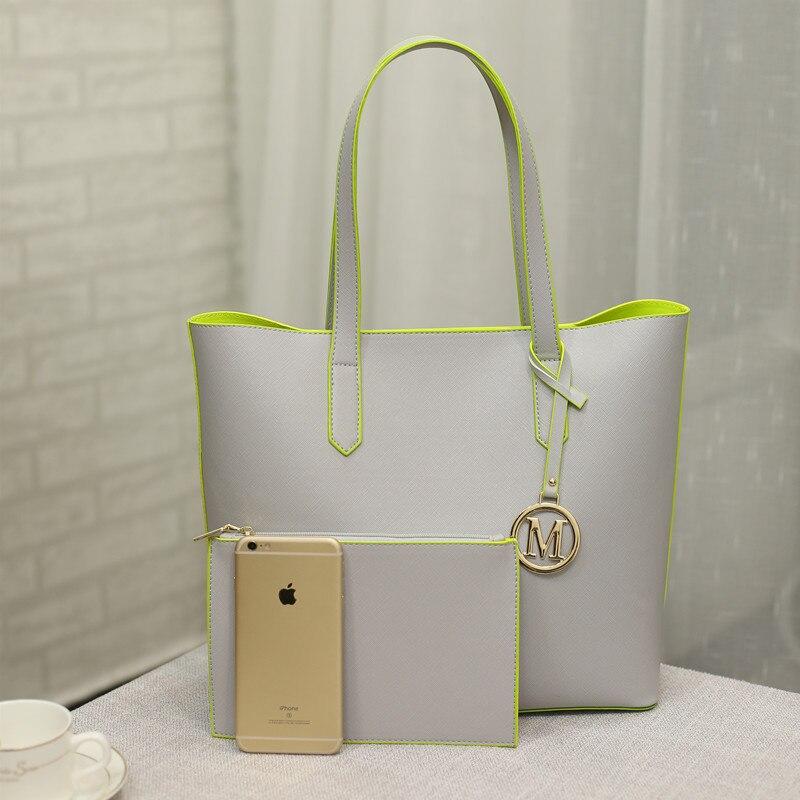 Женщины сумки Пу кожа композитный сумки большой серый сумка дизайнерские сумки сумки женщины известные бренды набор сумка + сцепления мешок