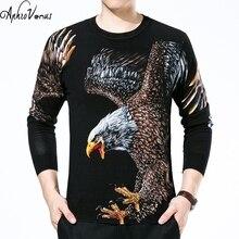 Осенняя одежда 2016 года Зимний пуловер Мужчины вязаный свитер бренд Eagle печати стильные Джемперы мужские свитера тянуть Homme MARQUE