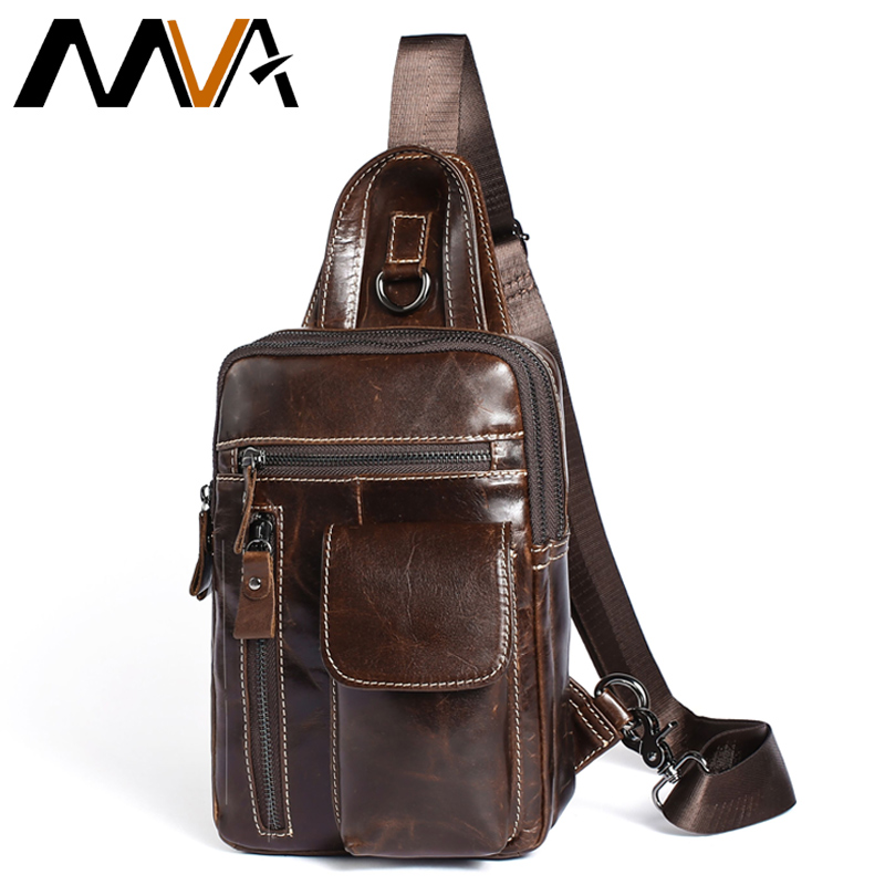 MVA Genuine Leather Crossbody Bags men casual messenger bag Small chest Brand Designer Male men's Shoulder Bag for men bags 8871 bullcaptain new arrival men chest bag genuine leather men bag brand designer leather messenger bags casual mens crossbody bags