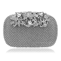 Flower Crystal Evening Bag Clutch Bags Leaf Metal Full Rhinestones Evening Bags Silver/Black/Gold Diamonds Evening Bag