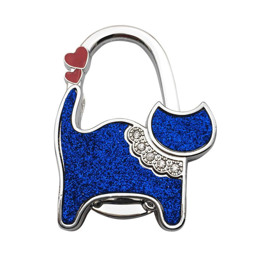1pcs Cute Lovely Folding Foldable Cat Handbag Bag Purse Table Hook Hanger Holder Black White Blue 65 X 45 Mm Wide Varieties Luggage & Bags
