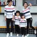 Family Set Striped Sweatshirt Daddy Boy Mother Daughter Family Matching Clothing Women Men Girl Kid Fall Autumn Tshirt YH15