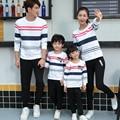 Family Set Striped Sweatshirt Daddy Boy Mother Daughter Family Matching Clothing Women Men Girl Kid Fall Autumn Tshirt YH15