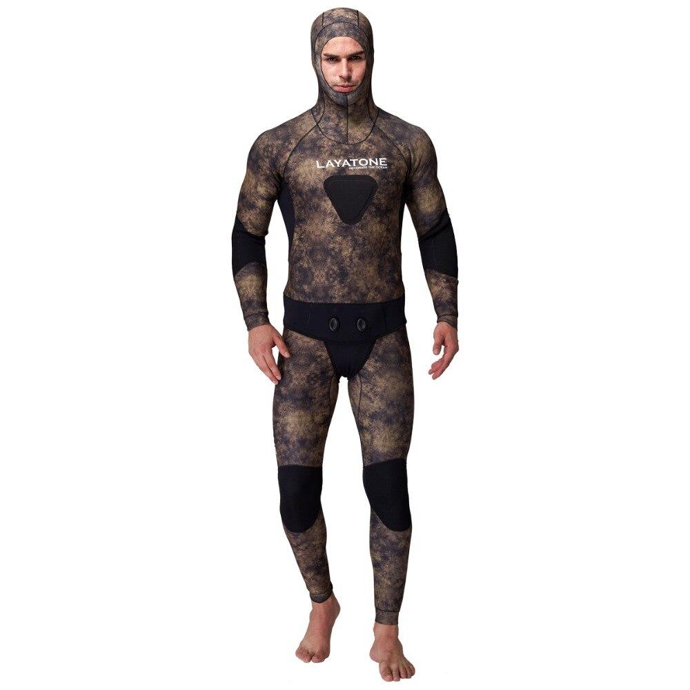 LayaTone 7MM Neoprene Hood Wetsuit Men Diving Suit Spearfishing Full Suit Snorkeling Spearfishing Underwater Hunting Wet Suit