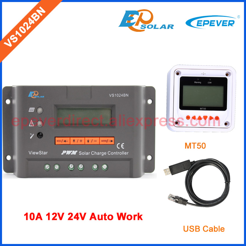 VS1024BN New seires PWM controller for solar battery system use 12V 24V auto type solar regulator EPEVER with USB cable and MT50 12v 24v auto work tracer1215bn for 12v 130w solar panel home system use 10a 10amp with wifi function usb cable and mt50