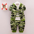 2016 spring Children 's wear camouflage three - piece children' s ariped long - sleeved zipper military training clothes AFD